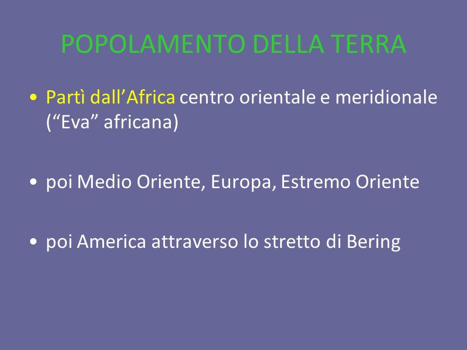 POPOLAMENTO DELLA TERRA Partì dallAfrica centro orientale e meridionale (Eva africana) poi Medio Oriente, Europa, Estremo Oriente poi America attraver