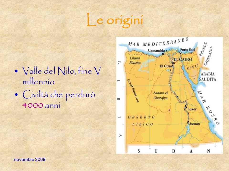 novembre 2009 Le origini Valle del Nilo, fine V millennio Civiltà che perdurò 4000 anni