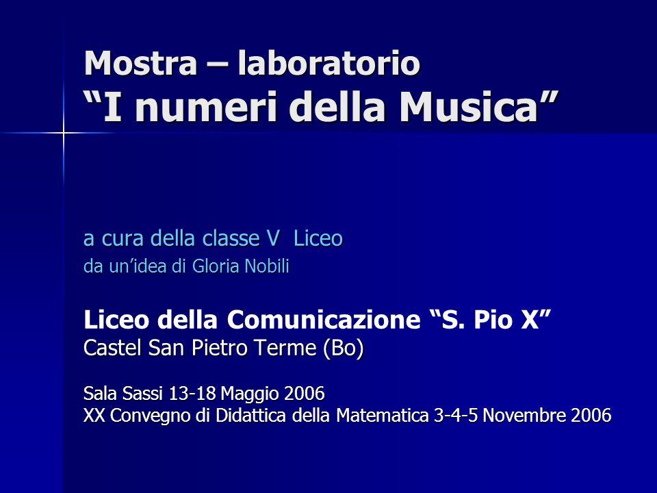 Mostra – laboratorio I numeri della Musica a cura della classe V Liceo da unidea di Gloria Nobili Liceo della Comunicazione S. Pio X Castel San Pietro