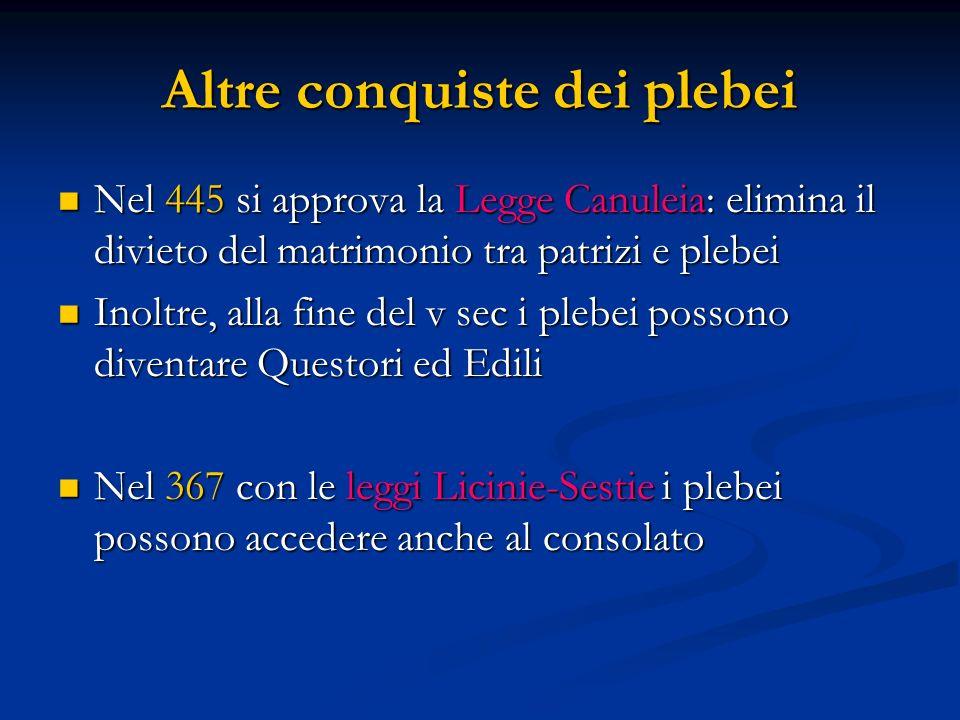 Altre conquiste dei plebei Nel 445 si approva la Legge Canuleia: elimina il divieto del matrimonio tra patrizi e plebei Nel 445 si approva la Legge Ca