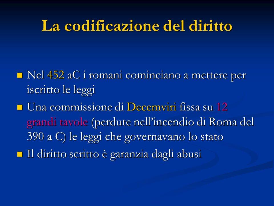 La codificazione del diritto Nel 452 aC i romani cominciano a mettere per iscritto le leggi Nel 452 aC i romani cominciano a mettere per iscritto le l