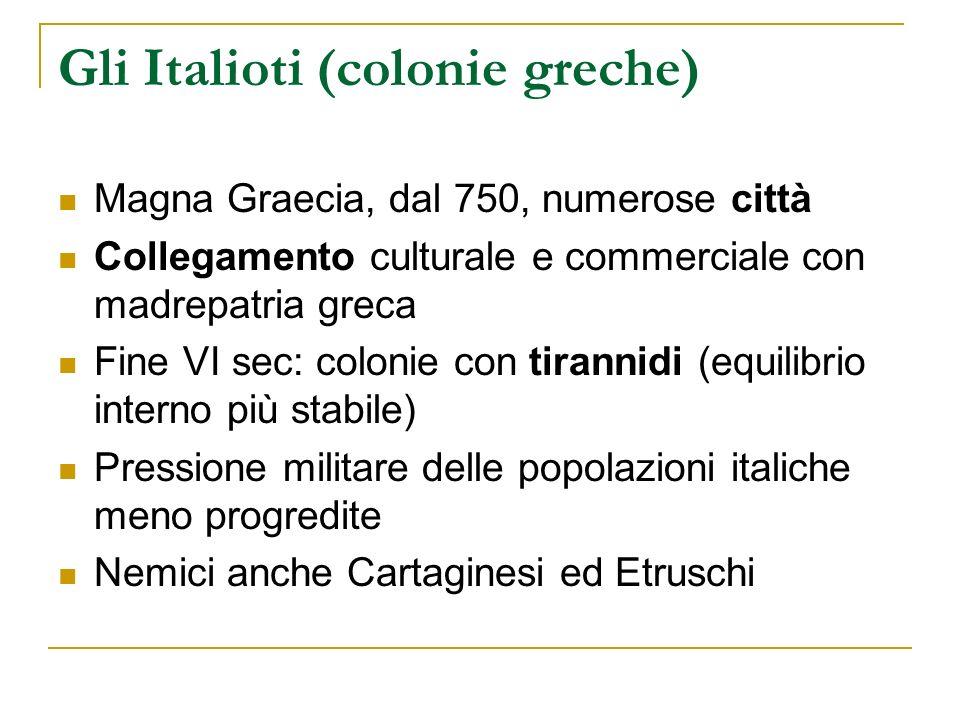 Gli Italioti (colonie greche) Magna Graecia, dal 750, numerose città Collegamento culturale e commerciale con madrepatria greca Fine VI sec: colonie c