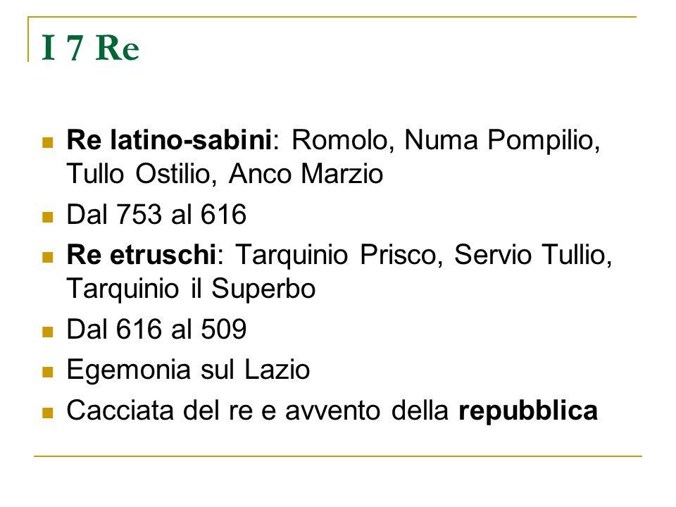 I 7 Re Re latino-sabini: Romolo, Numa Pompilio, Tullo Ostilio, Anco Marzio Dal 753 al 616 Re etruschi: Tarquinio Prisco, Servio Tullio, Tarquinio il S