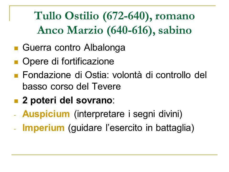 Tullo Ostilio (672-640), romano Anco Marzio (640-616), sabino Guerra contro Albalonga Opere di fortificazione Fondazione di Ostia: volontà di controll