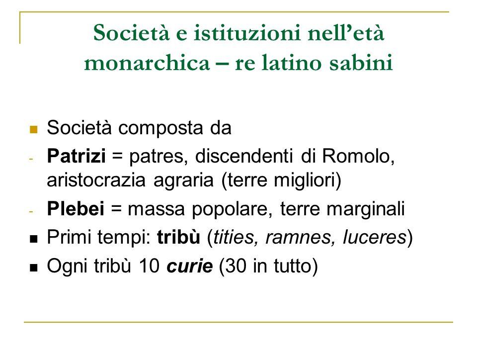 Società e istituzioni nelletà monarchica – re latino sabini Società composta da - Patrizi = patres, discendenti di Romolo, aristocrazia agraria (terre