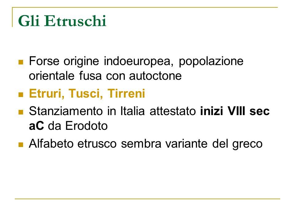 Gli Etruschi Forse origine indoeuropea, popolazione orientale fusa con autoctone Etruri, Tusci, Tirreni Stanziamento in Italia attestato inizi VIII se