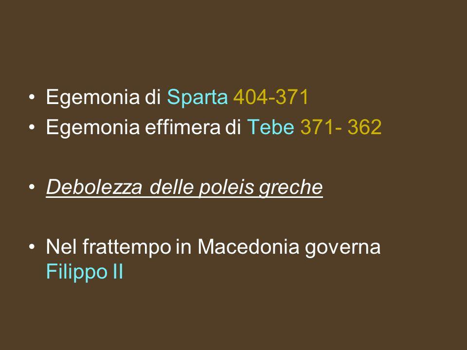Egemonia di Sparta 404-371 Egemonia effimera di Tebe 371- 362 Debolezza delle poleis greche Nel frattempo in Macedonia governa Filippo II