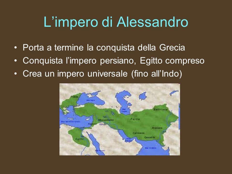 Limpero di Alessandro Porta a termine la conquista della Grecia Conquista limpero persiano, Egitto compreso Crea un impero universale (fino allIndo)