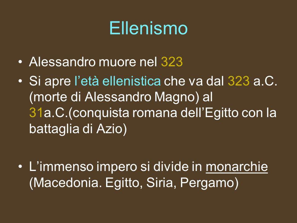 Ellenismo Alessandro muore nel 323 Si apre letà ellenistica che va dal 323 a.C. (morte di Alessandro Magno) al 31a.C.(conquista romana dellEgitto con
