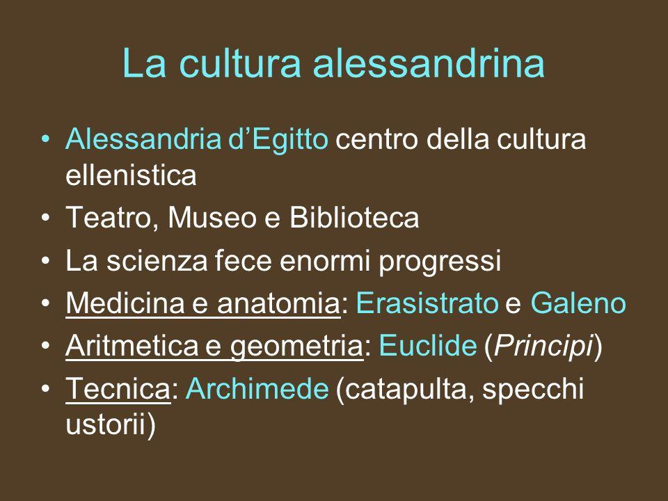 La cultura alessandrina Astronomia: -Aristarco di Samo (teoria eliocentrica) -Tolomeo (teoria geocentrica) - Eratostene (misurò la circonferenza terrestre) -Ipparco di Nicea (catalogo delle stelle, precessione degli Equinozi)