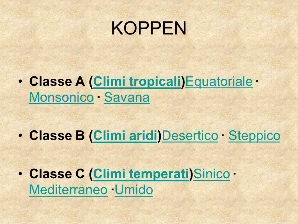 KOPPEN Classe A (Climi tropicali)Equatoriale · Monsonico · SavanaClimi tropicaliEquatoriale MonsonicoSavana Classe B (Climi aridi)Desertico · Steppico