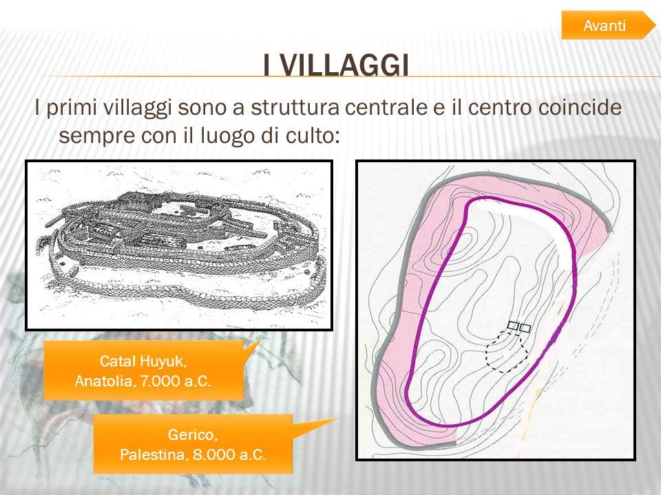 I VILLAGGI I primi villaggi sono a struttura centrale e il centro coincide sempre con il luogo di culto: Gerico, Palestina, 8.000 a.C. Catal Huyuk, An