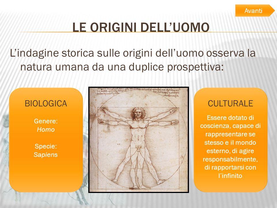 LE ORIGINI DELLUOMO Lindagine storica sulle origini delluomo osserva la natura umana da una duplice prospettiva: BIOLOGICA Genere: Homo Specie: Sapien