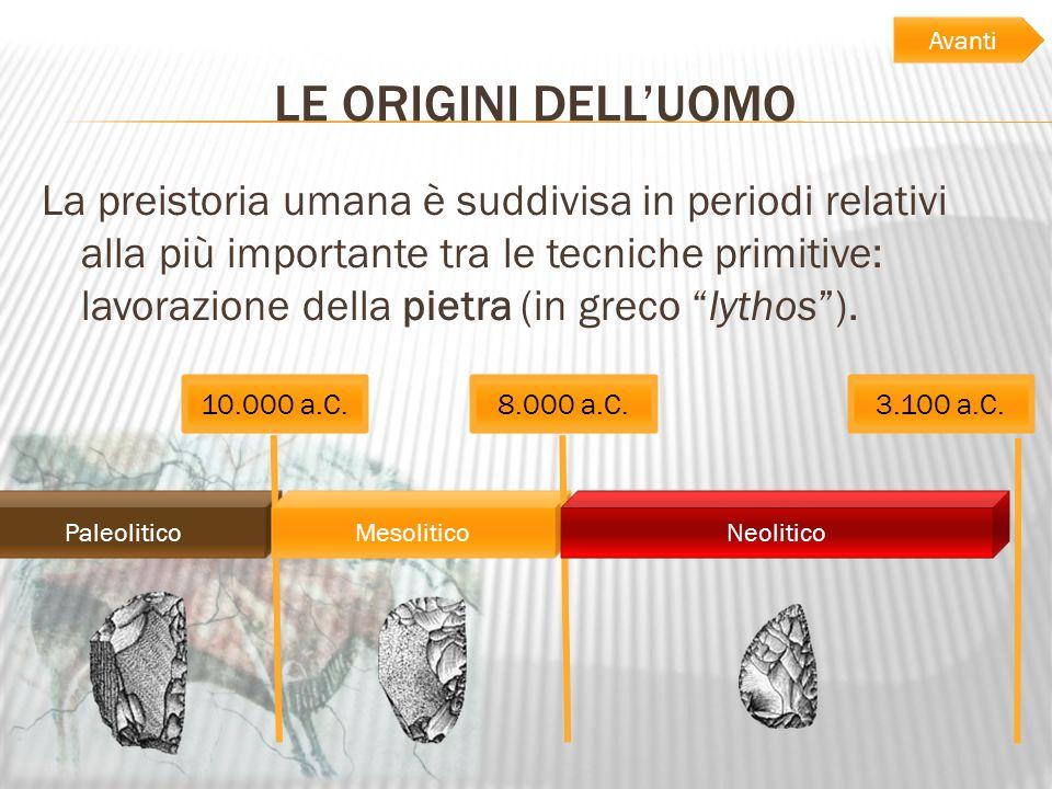 LE ORIGINI DELLUOMO La preistoria umana è suddivisa in periodi relativi alla più importante tra le tecniche primitive: lavorazione della pietra (in gr