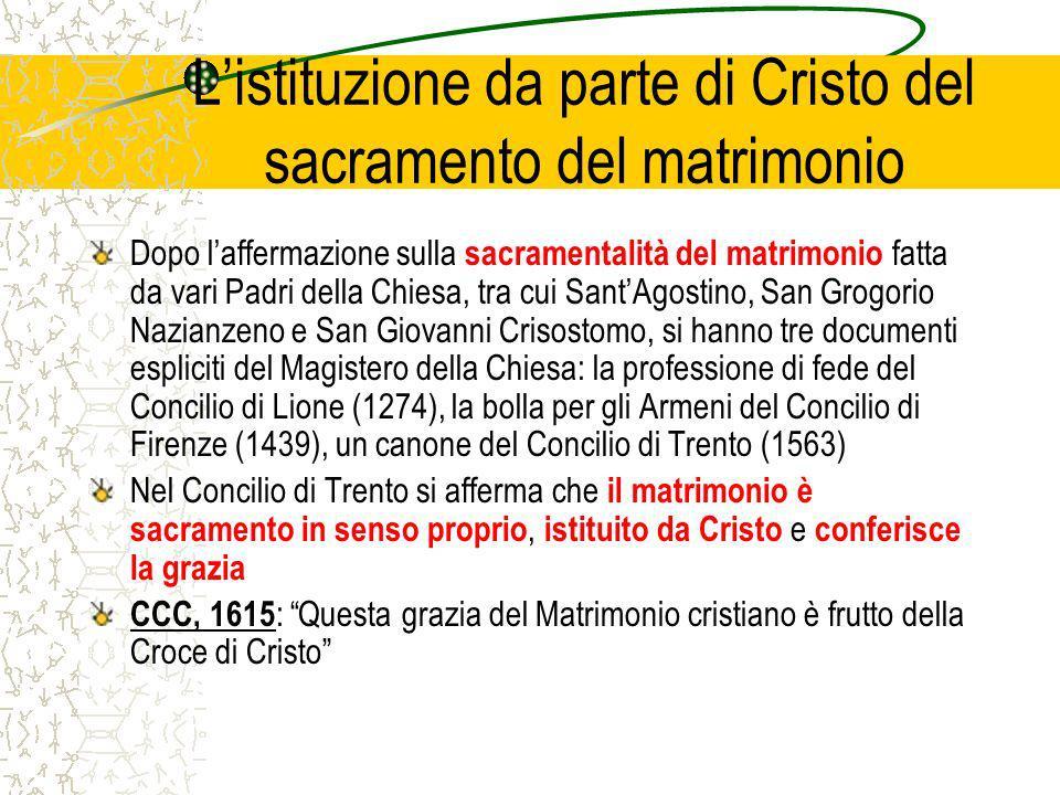 Listituzione da parte di Cristo del sacramento del matrimonio Dopo laffermazione sulla sacramentalità del matrimonio fatta da vari Padri della Chiesa,
