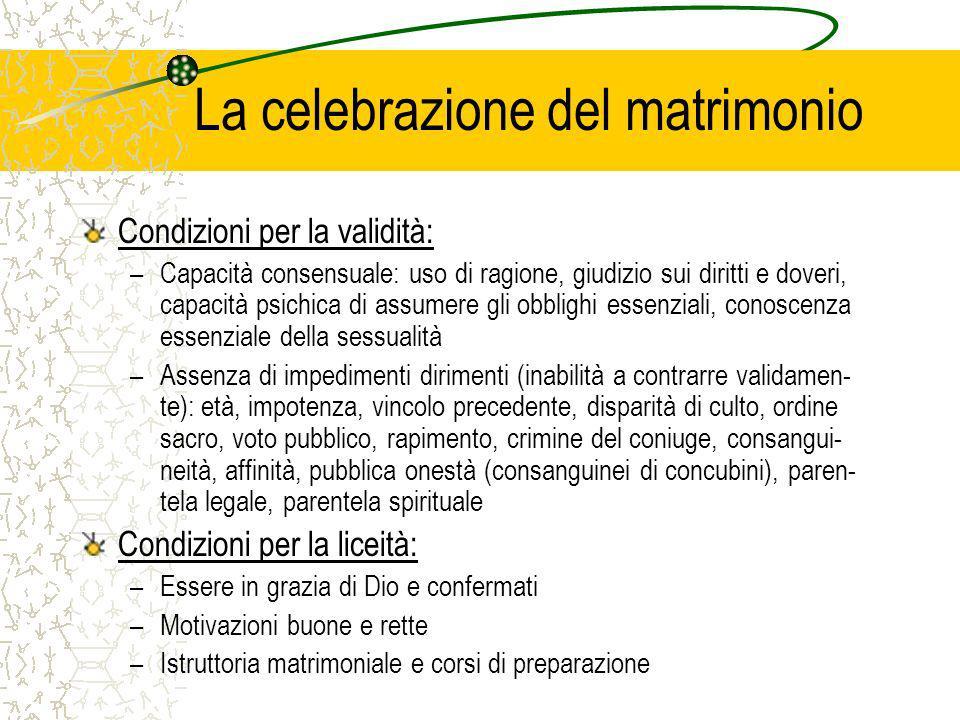 La celebrazione del matrimonio Condizioni per la validità: –Capacità consensuale: uso di ragione, giudizio sui diritti e doveri, capacità psichica di