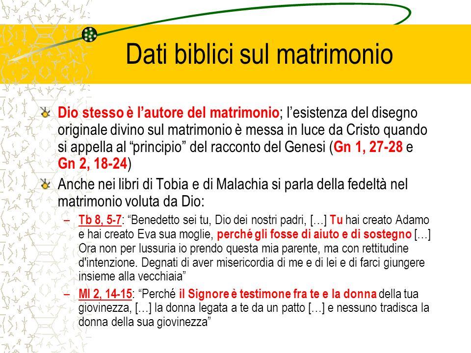 Dati biblici sul matrimonio Dio stesso è lautore del matrimonio ; lesistenza del disegno originale divino sul matrimonio è messa in luce da Cristo qua