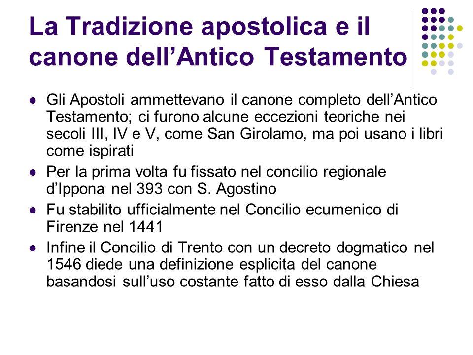 La Tradizione apostolica e il canone dellAntico Testamento Gli Apostoli ammettevano il canone completo dellAntico Testamento; ci furono alcune eccezio