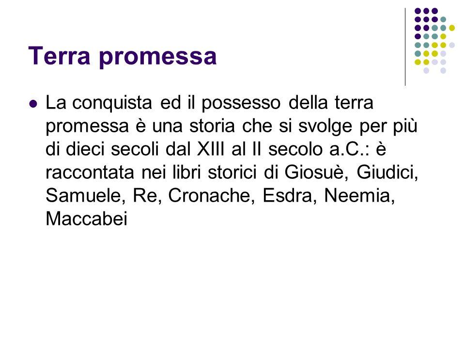 Terra promessa La conquista ed il possesso della terra promessa è una storia che si svolge per più di dieci secoli dal XIII al II secolo a.C.: è racco
