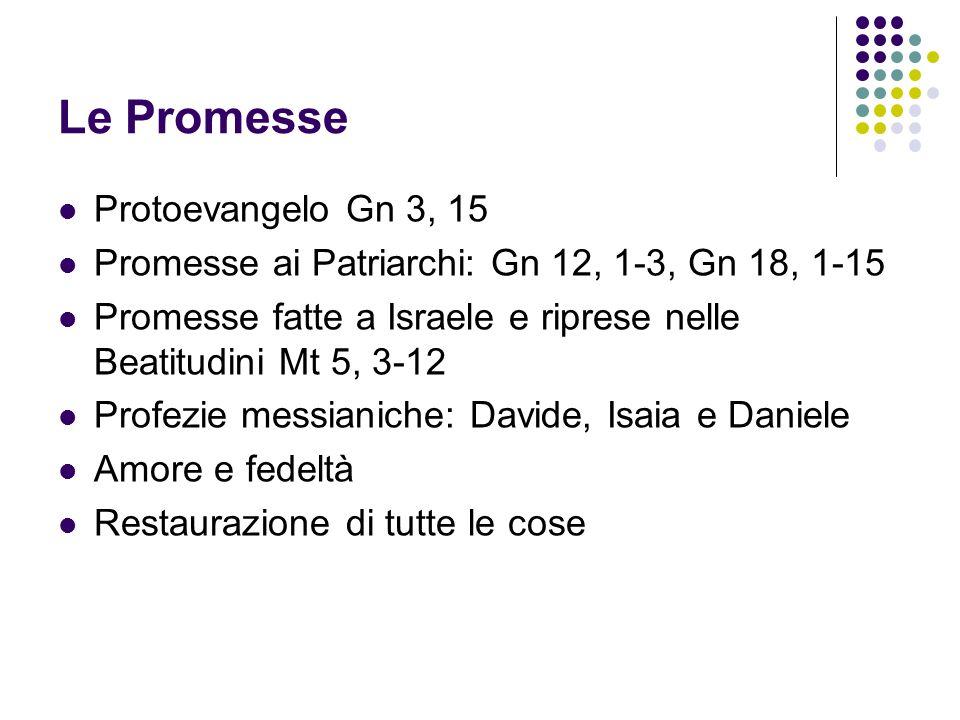 Le Promesse Protoevangelo Gn 3, 15 Promesse ai Patriarchi: Gn 12, 1-3, Gn 18, 1-15 Promesse fatte a Israele e riprese nelle Beatitudini Mt 5, 3-12 Pro