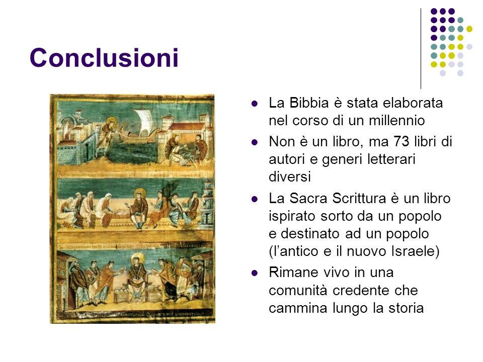 Conclusioni La Bibbia è stata elaborata nel corso di un millennio Non è un libro, ma 73 libri di autori e generi letterari diversi La Sacra Scrittura
