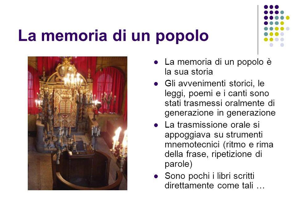La memoria di un popolo La memoria di un popolo è la sua storia Gli avvenimenti storici, le leggi, poemi e i canti sono stati trasmessi oralmente di g