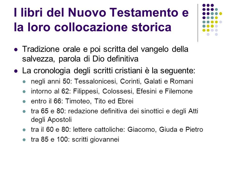 I libri del Nuovo Testamento e la loro collocazione storica Tradizione orale e poi scritta del vangelo della salvezza, parola di Dio definitiva La cro