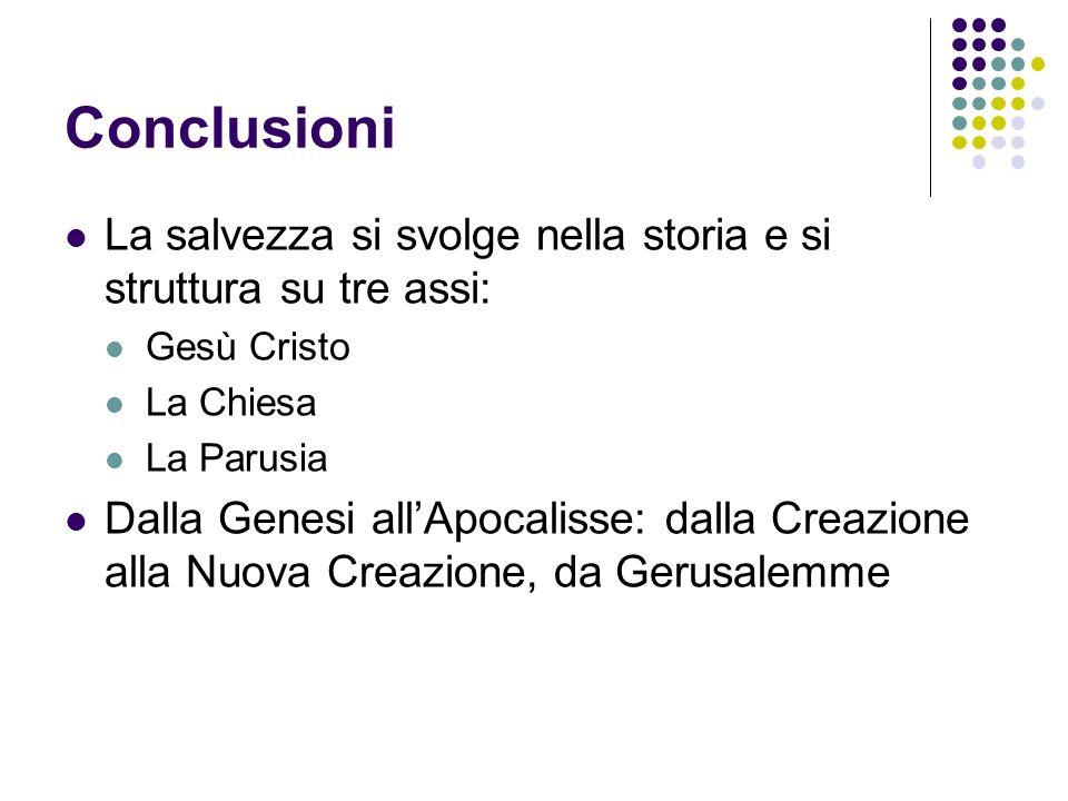 Conclusioni La salvezza si svolge nella storia e si struttura su tre assi: Gesù Cristo La Chiesa La Parusia Dalla Genesi allApocalisse: dalla Creazion