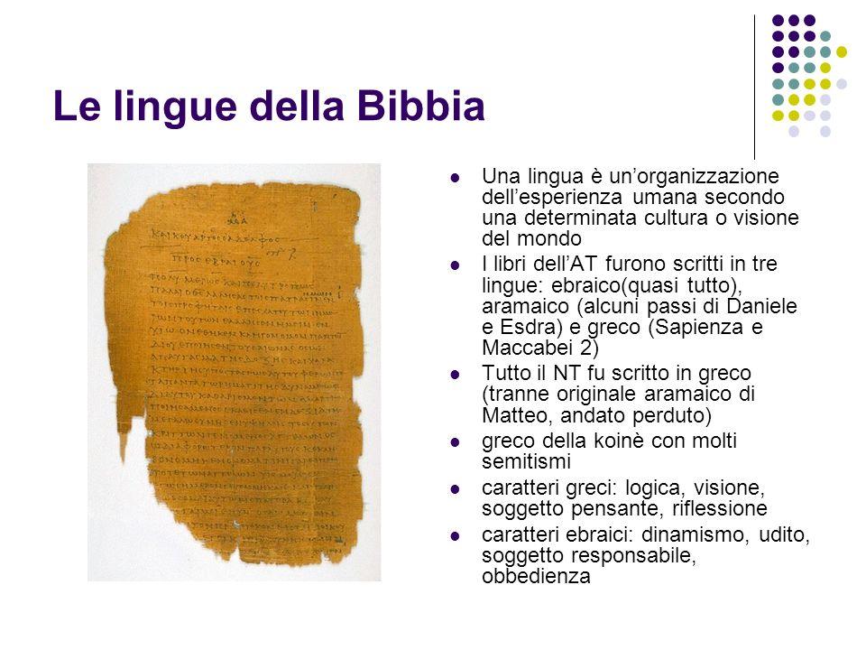 Le lingue della Bibbia Una lingua è unorganizzazione dellesperienza umana secondo una determinata cultura o visione del mondo I libri dellAT furono sc