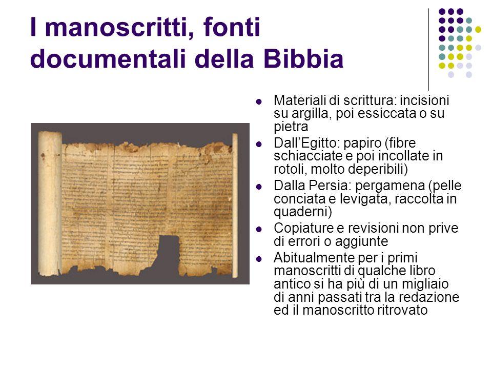 I manoscritti, fonti documentali della Bibbia Materiali di scrittura: incisioni su argilla, poi essiccata o su pietra DallEgitto: papiro (fibre schiac