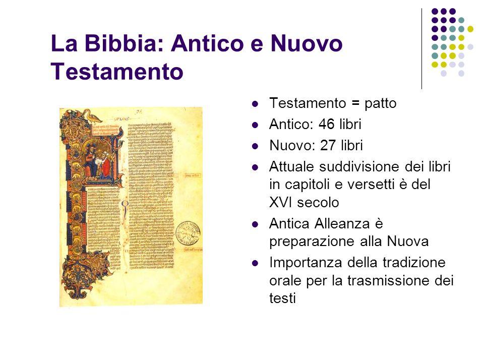 La Bibbia: Antico e Nuovo Testamento Testamento = patto Antico: 46 libri Nuovo: 27 libri Attuale suddivisione dei libri in capitoli e versetti è del X