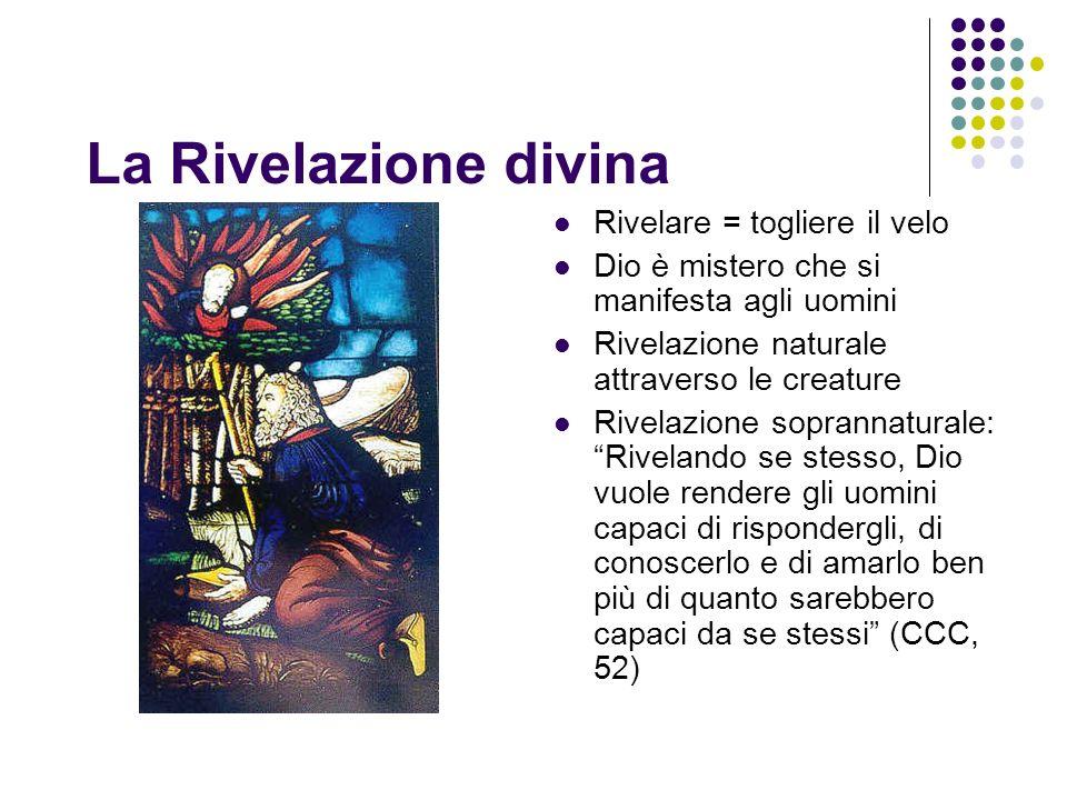 La Rivelazione divina Rivelare = togliere il velo Dio è mistero che si manifesta agli uomini Rivelazione naturale attraverso le creature Rivelazione s
