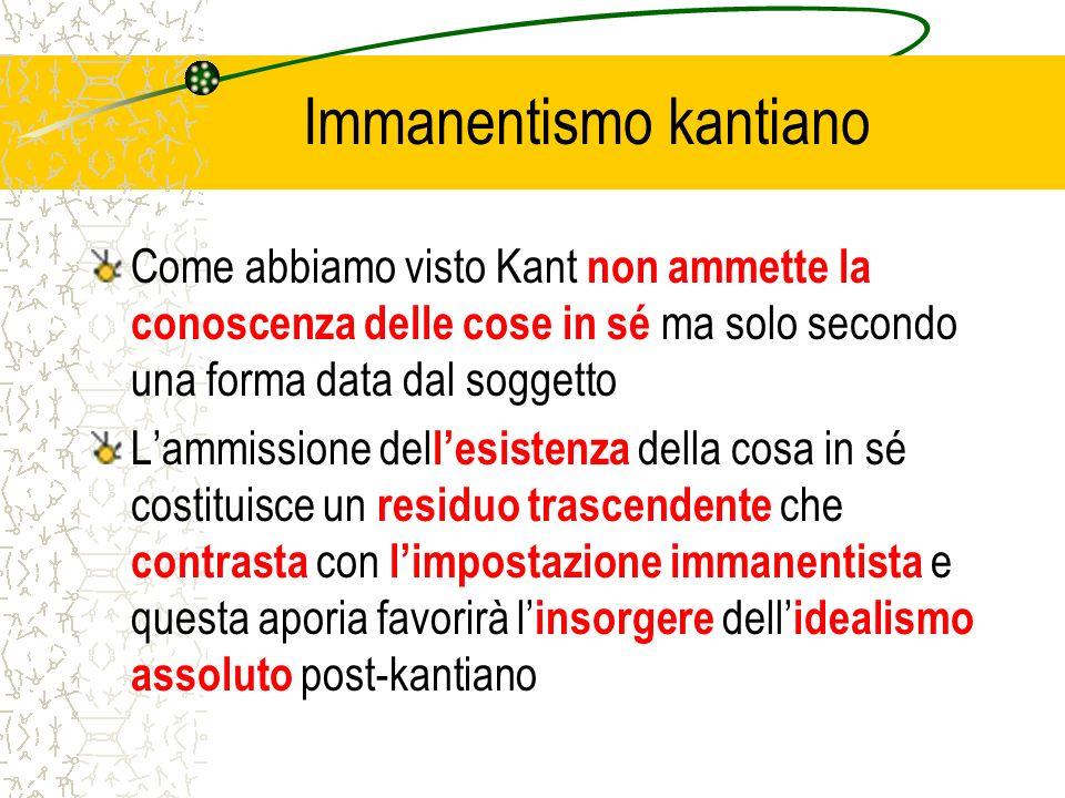 Immanentismo kantiano Come abbiamo visto Kant non ammette la conoscenza delle cose in sé ma solo secondo una forma data dal soggetto Lammissione del l