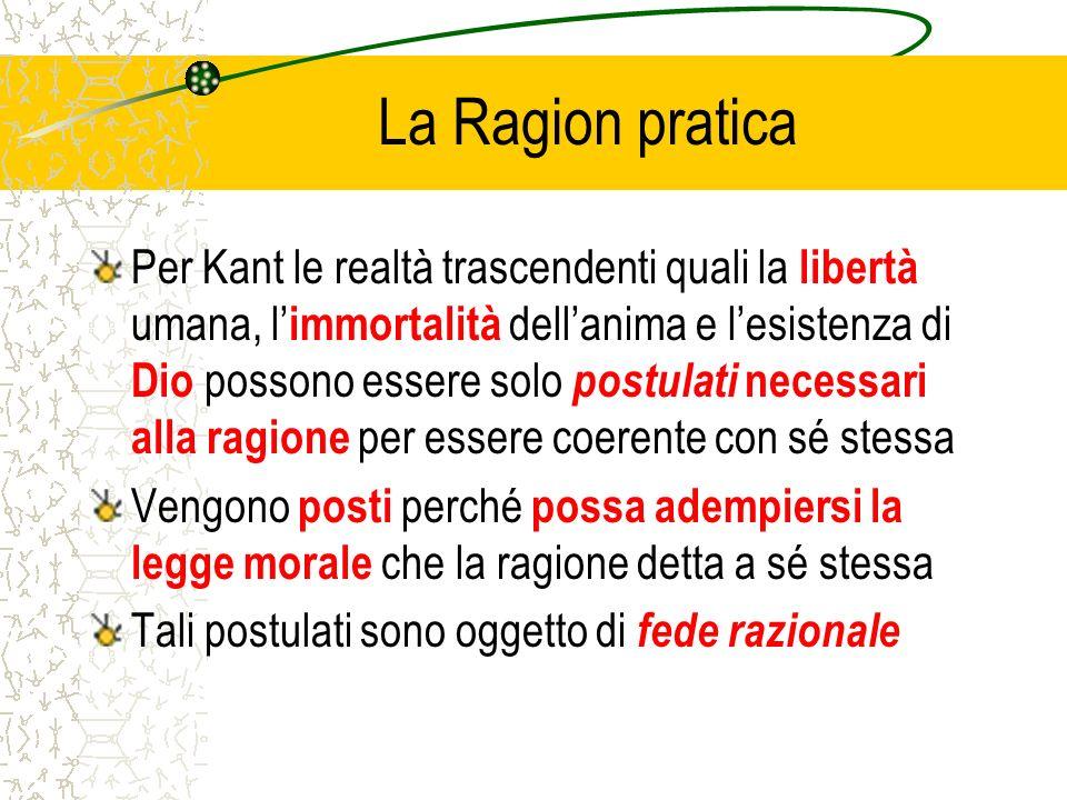 La Ragion pratica Per Kant le realtà trascendenti quali la libertà umana, l immortalità dellanima e lesistenza di Dio possono essere solo postulati ne