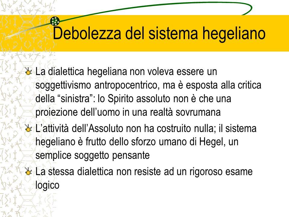 Debolezza del sistema hegeliano La dialettica hegeliana non voleva essere un soggettivismo antropocentrico, ma è esposta alla critica della sinistra: