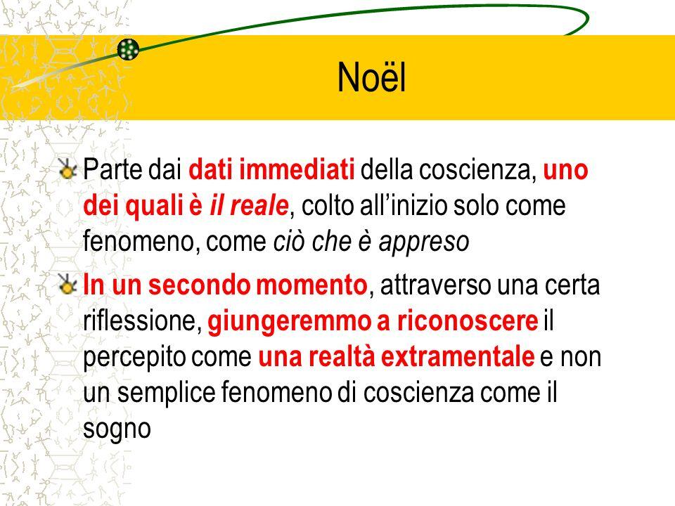 Noël Parte dai dati immediati della coscienza, uno dei quali è il reale, colto allinizio solo come fenomeno, come ciò che è appreso In un secondo mome