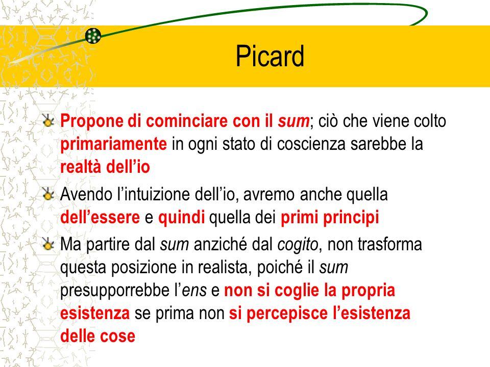 Picard Propone di cominciare con il sum ; ciò che viene colto primariamente in ogni stato di coscienza sarebbe la realtà dellio Avendo lintuizione del
