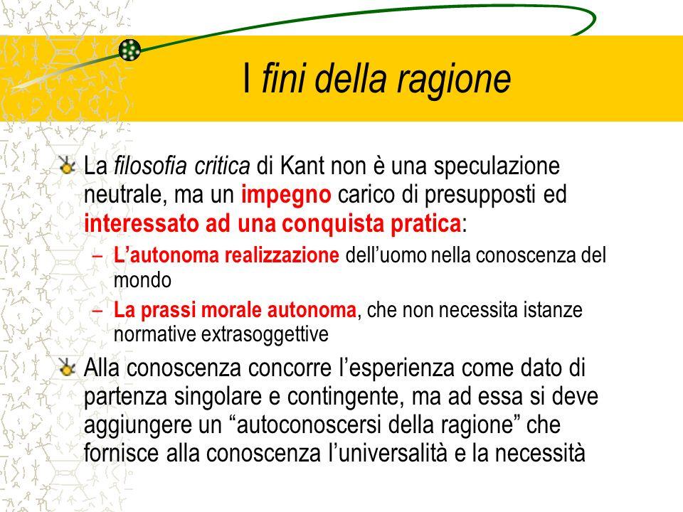 I fini della ragione La filosofia critica di Kant non è una speculazione neutrale, ma un impegno carico di presupposti ed interessato ad una conquista