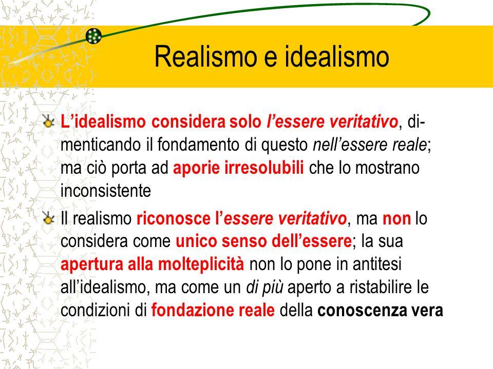 Realismo e idealismo Lidealismo considera solo lessere veritativo, di- menticando il fondamento di questo nellessere reale ; ma ciò porta ad aporie ir