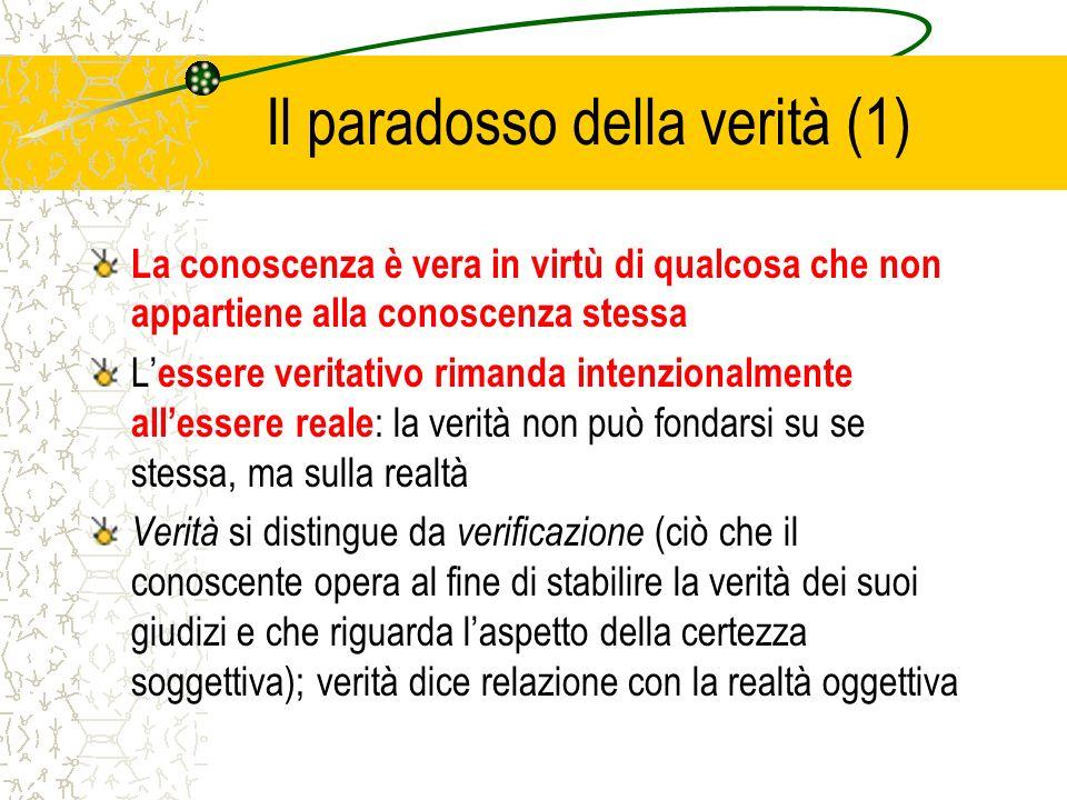 Il paradosso della verità (1) La conoscenza è vera in virtù di qualcosa che non appartiene alla conoscenza stessa L essere veritativo rimanda intenzio