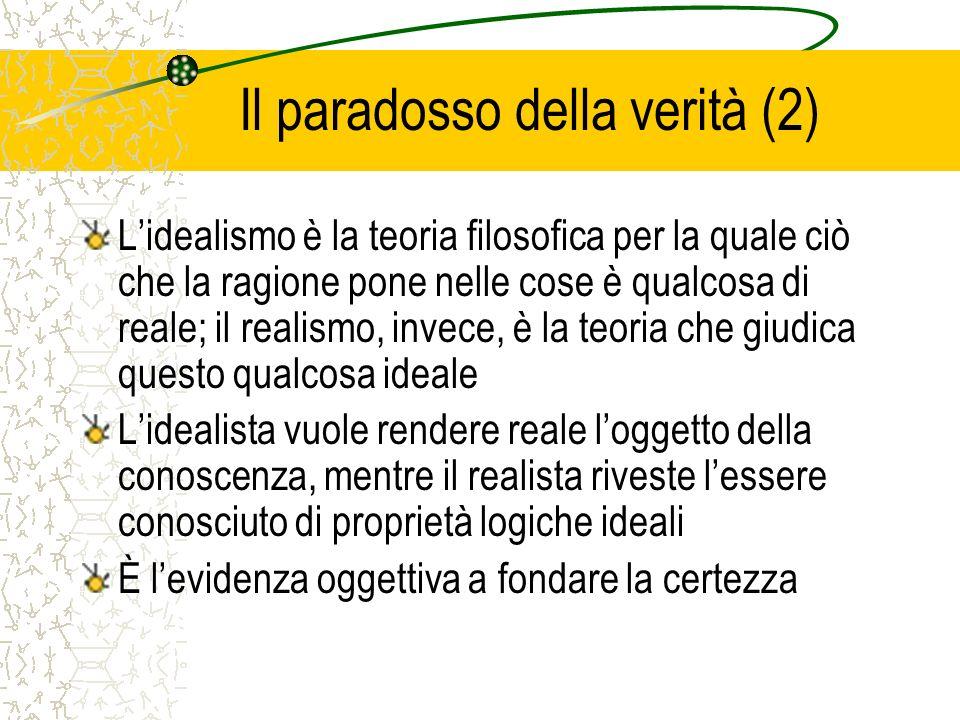 Il paradosso della verità (2) Lidealismo è la teoria filosofica per la quale ciò che la ragione pone nelle cose è qualcosa di reale; il realismo, inve