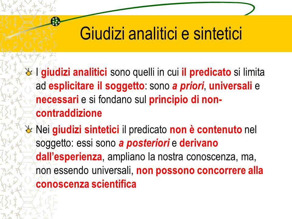 Giudizi analitici e sintetici I giudizi analitici sono quelli in cui il predicato si limita ad esplicitare il soggetto : sono a priori, universali e n