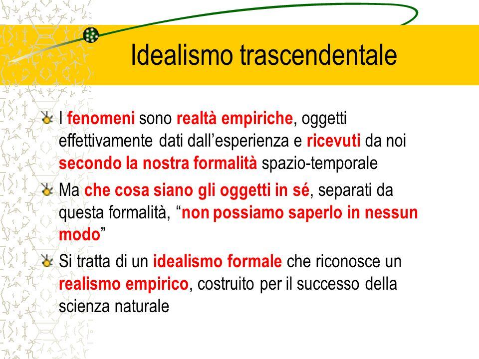 Idealismo trascendentale I fenomeni sono realtà empiriche, oggetti effettivamente dati dallesperienza e ricevuti da noi secondo la nostra formalità sp
