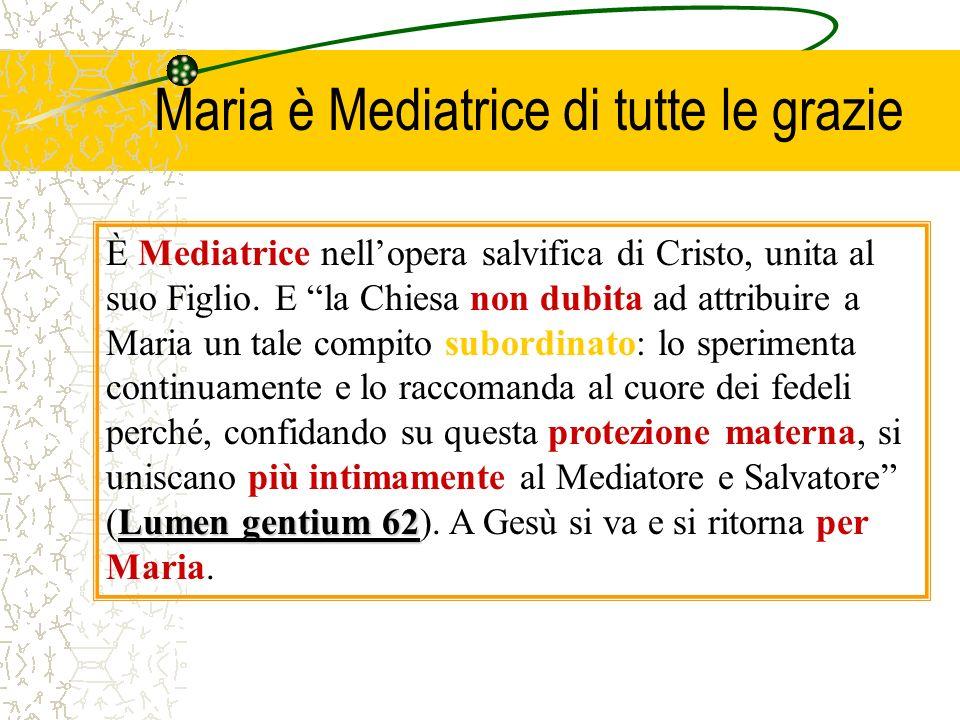 Maria non solo ha ricevuto la più perfetta partecipazione dei frutti della salvezza (senza peccato, piena di grazia, in corpo ed anima in Cielo), ma è
