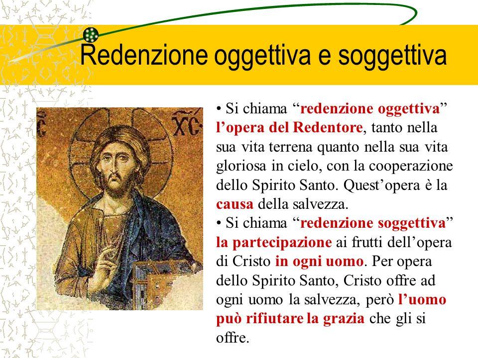 Si chiama redenzione oggettiva lopera del Redentore, tanto nella sua vita terrena quanto nella sua vita gloriosa in cielo, con la cooperazione dello Spirito Santo.