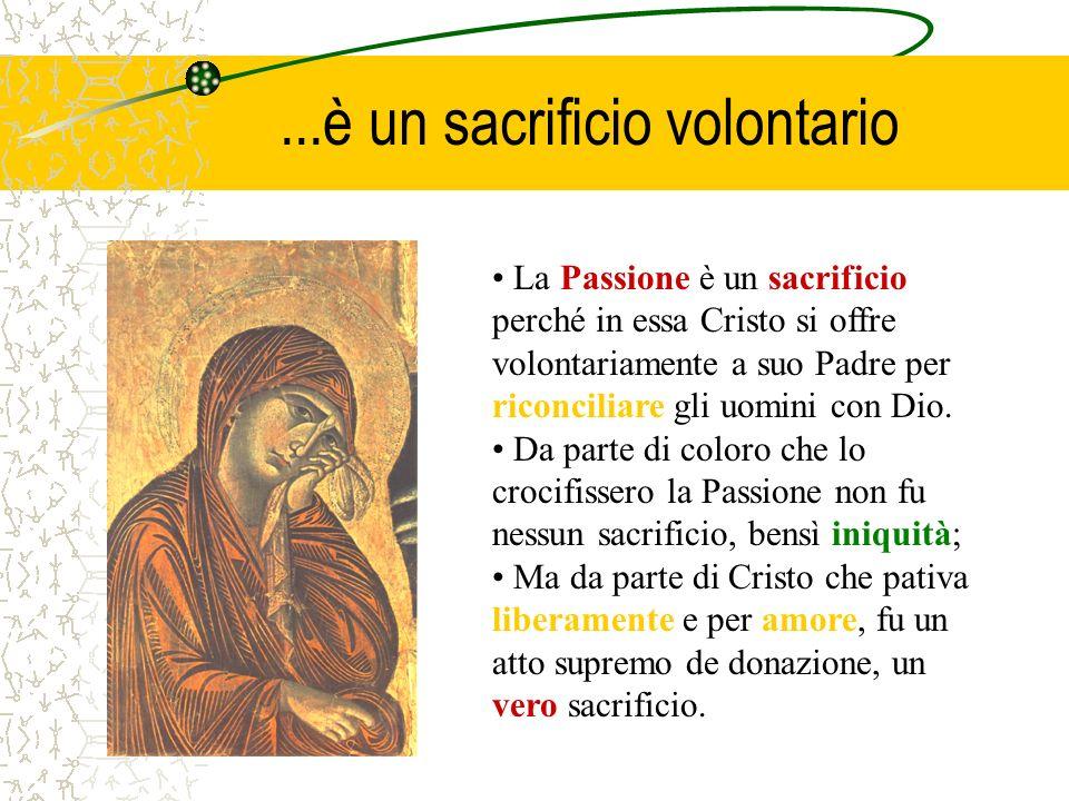 ...è un sacrificio volontario La Passione è un sacrificio perché in essa Cristo si offre volontariamente a suo Padre per riconciliare gli uomini con D