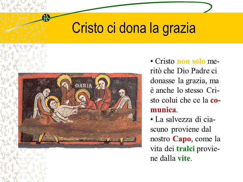 Cristo ci dona la grazia Cristo non solo me- ritò che Dio Padre ci donasse la grazia, ma è anche lo stesso Cri- sto colui che ce la co- munica. La sal