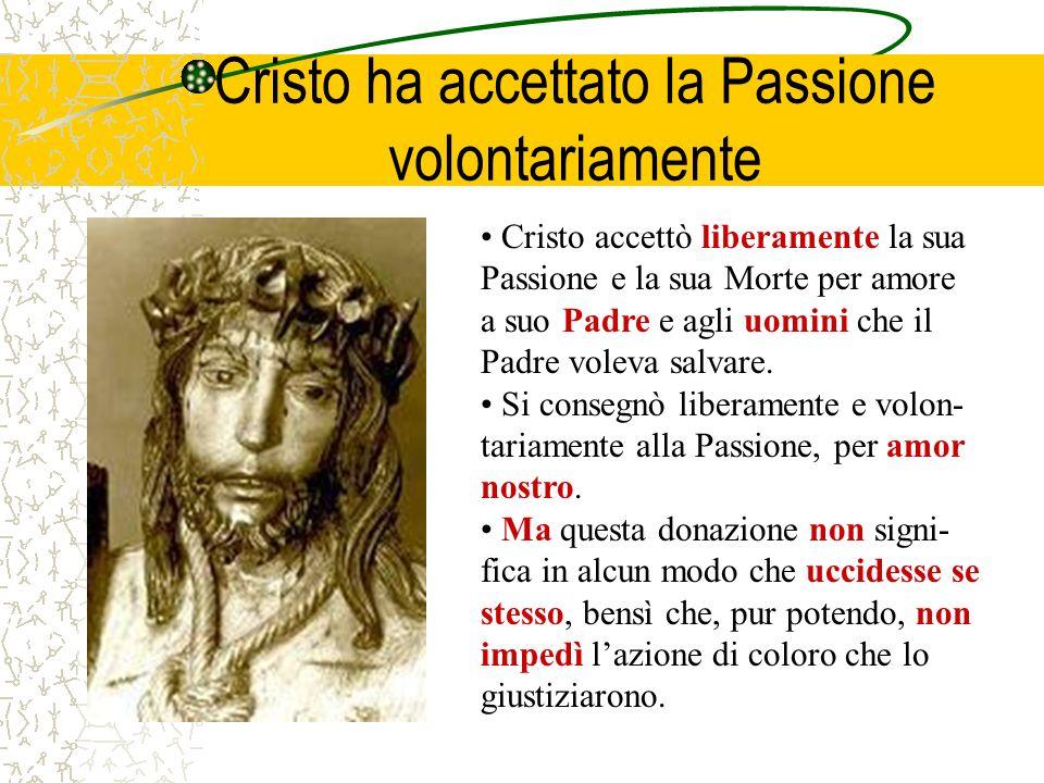 Cristo ha accettato la Passione volontariamente Cristo accettò liberamente la sua Passione e la sua Morte per amore a suo Padre e agli uomini che il P