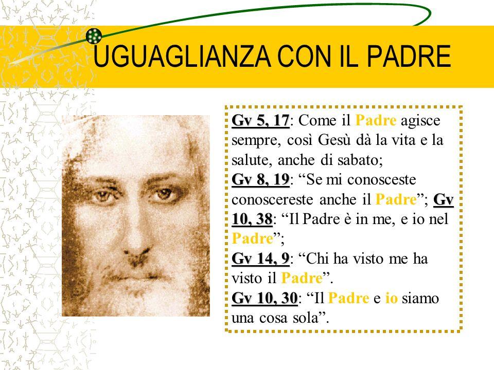 UGUAGLIANZA CON IL PADRE Gv 5, 17 Gv 5, 17: Come il Padre agisce sempre, così Gesù dà la vita e la salute, anche di sabato; Gv 8, 19 Gv 10, 38 Gv 8, 1