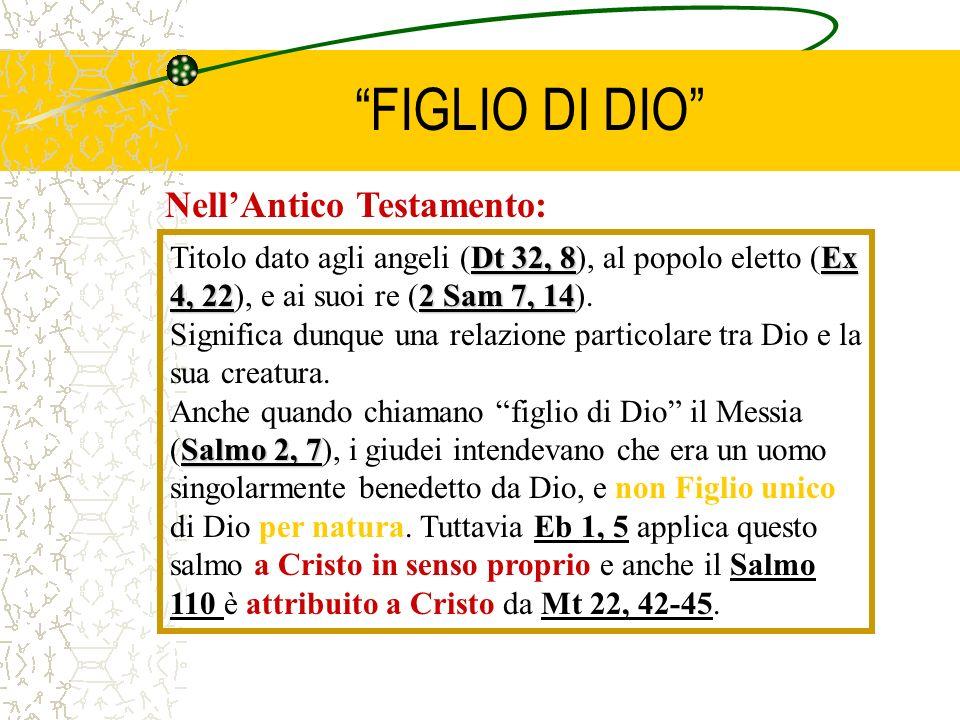 FIGLIO DI DIO NellAntico Testamento: Dt 32, 8Ex 4, 222 Sam 7, 14 Titolo dato agli angeli (Dt 32, 8), al popolo eletto (Ex 4, 22), e ai suoi re (2 Sam